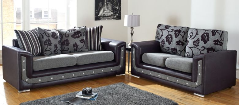Las Vegas 3+2 Seater Diamante Crystal Grey Fabric Sofa Suite