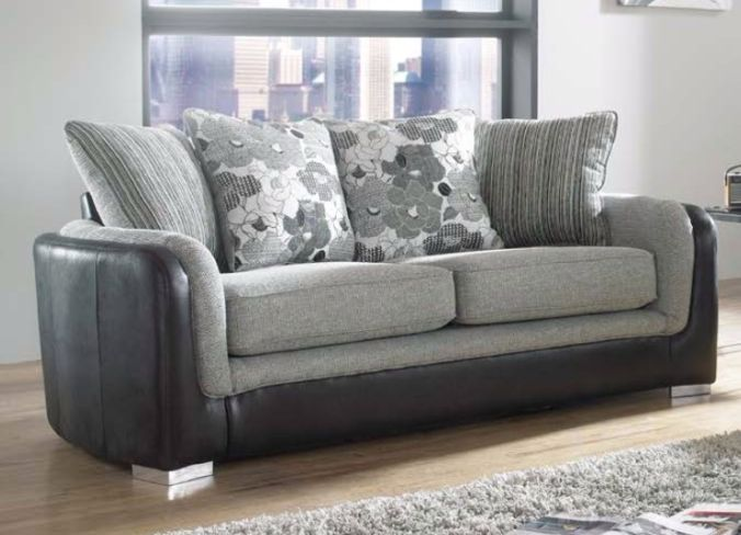 Lisbon 3 Seater Charcoal Fabric Sofa Settee