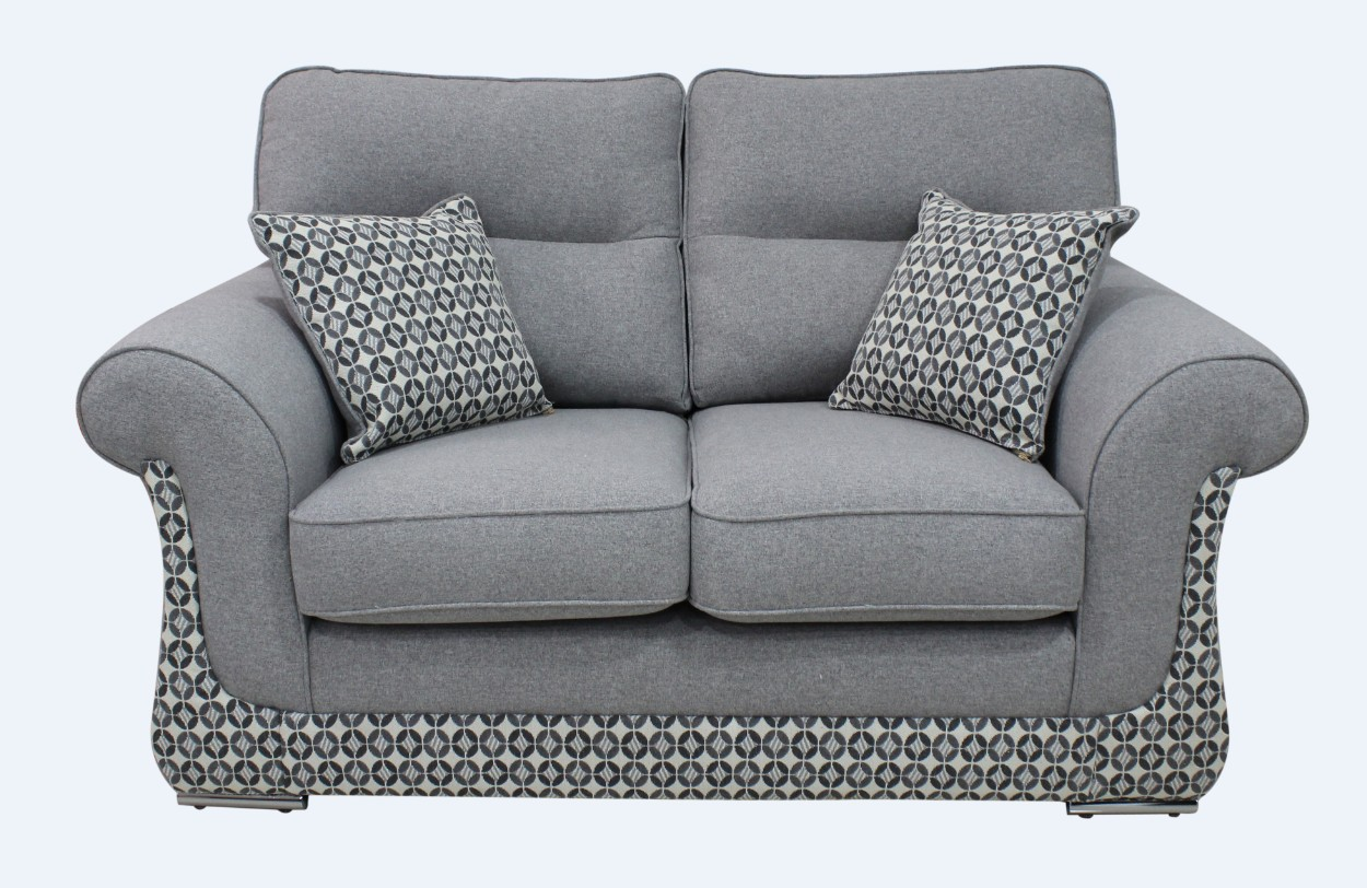 Luna 2 Seater Fabric Sofa Settee Upholstered In Halifax Light Grey