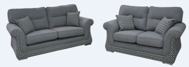 Luna 3+2 Sofa Suite Fabric Upholstered In Halifax Light Grey