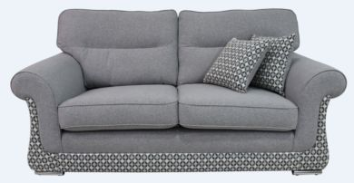 Luna 3 Seater Fabric Sofa Settee Upholstered In Halifax Light Grey