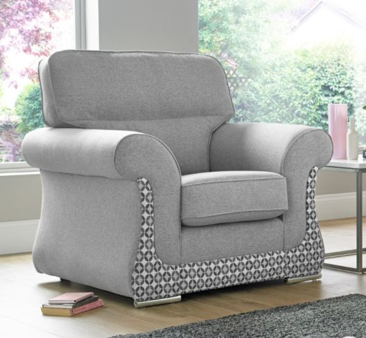 Luna Armchair 1 Seater Fabric Sofa Settee Upholstered In Halifax Light Grey