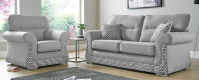 Luna 3+1+1 Sofa Suite Fabric Upholstered In Halifax Light Grey