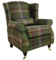 Arnold Wool Tweed Wing Chair Fireside High Back Armchair Malham Lime Check Wool