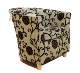 Tub Chair Viscose & Velvet Fabric Bucket Mandarin Black