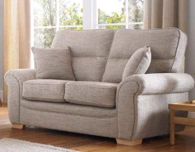 Milan 2 Seater Fabric Sofa Upholstered In Caramel