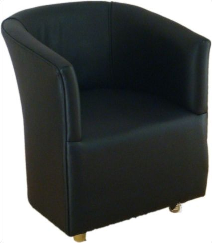 Leather Black Cushioned Faux Tub Bucket Chair for Bars