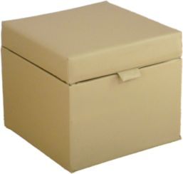 Opener Footstool / Ottoman with Storage Cream Faux Leather