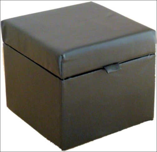Opener Footstool / Ottoman with Storage Black Faux Leather