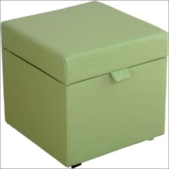 Opener Footstool / Ottoman with Storage Mint Faux Leather