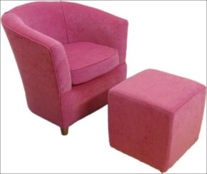 Pink Bucket Tub Chair Upholstered in Chenille Fabric