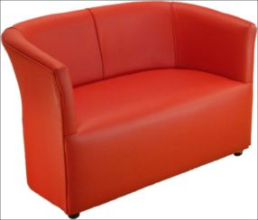 Leather Ferrari Red Cushioned Faux Tub Bucket Chair for Bars