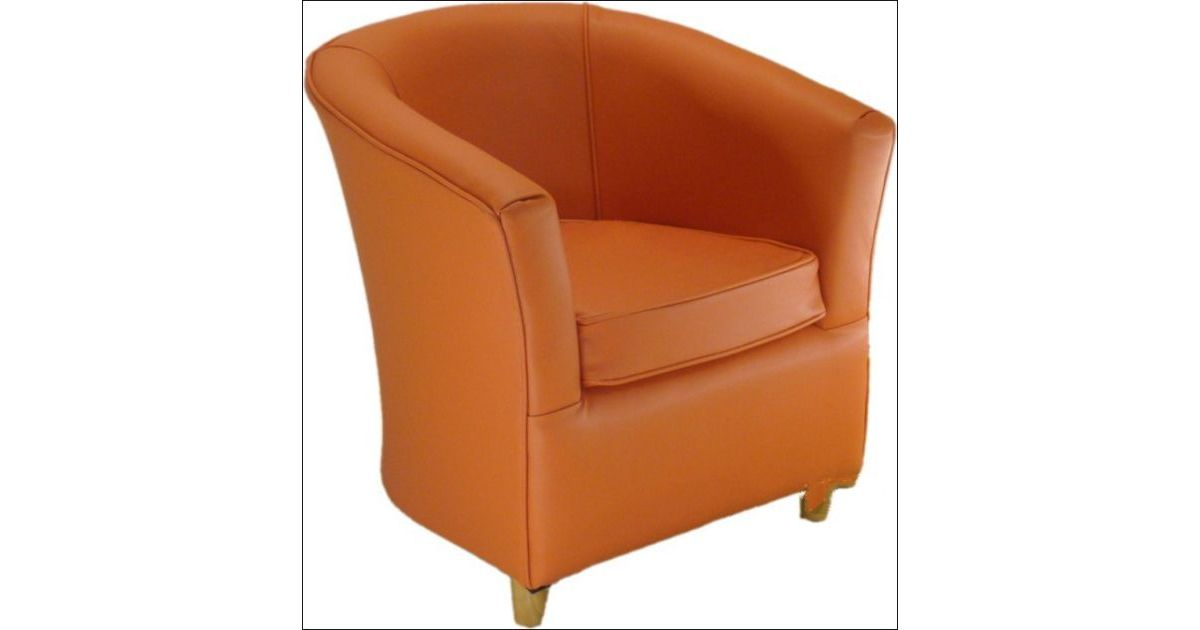 Leather Bucket Tub Chair Tangerine Orange