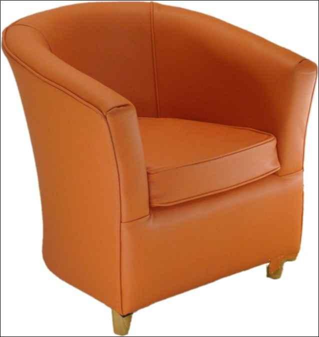 Leather Bucket Tub Chair Tangerine Orange