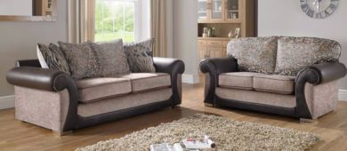 Oasis 3+2 Seater Fabric Sofa Suite Upholstered In Mercury Mink
