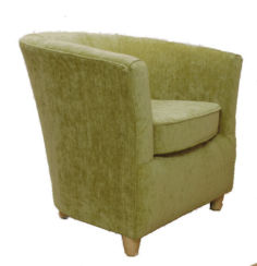 Chenille Fabric Bucket Tub Chair Olive Green
