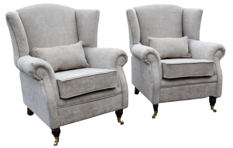 2 x Wing Chairs Fireside High Back Armchair Velluto Hessian Mink Fabric