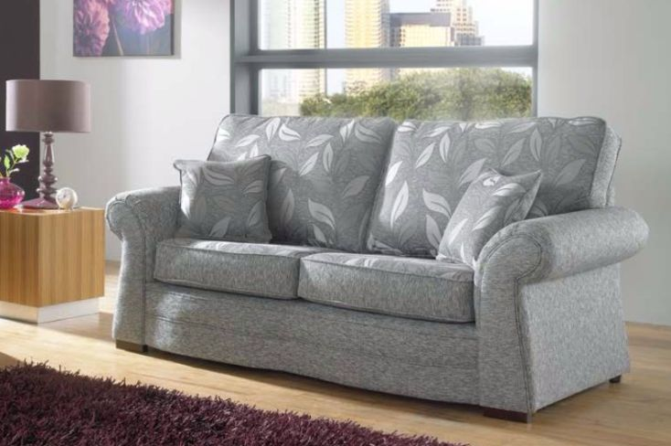 Roma 3 Seater Fabric Sofa Upholstered In Dundee Silver
