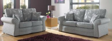 Roma 3+2 Sofa Suite Fabric Upholstered In Dundee Silver