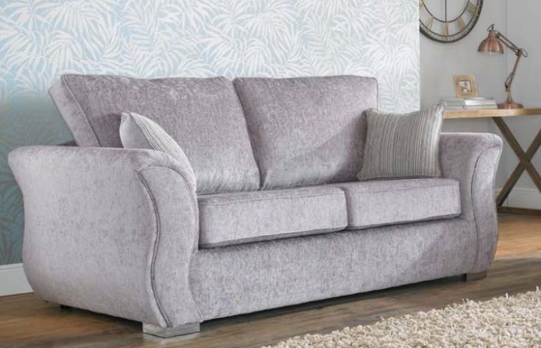 Royal 3 Seater Sofa Settee Carlton Silver Fabric