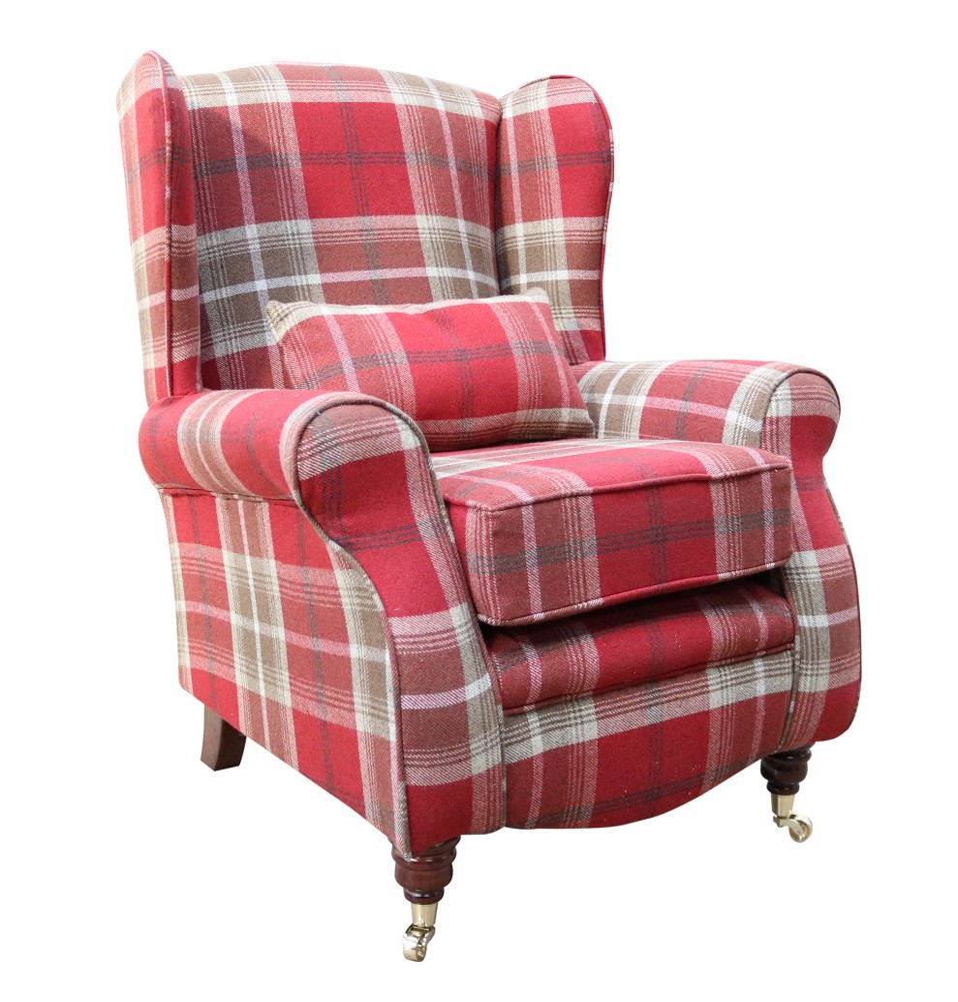 Sherlock Wingback Fireside High Back Armchair Balmoral Red Check P&S