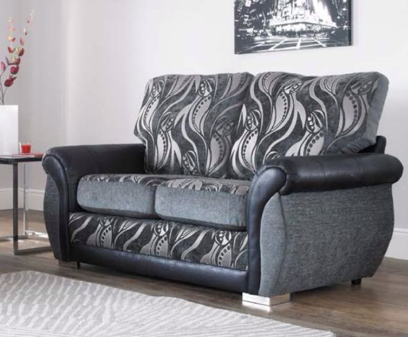 Sofia 2 Seater Fabric Sofa Settee Upholstered In Zest Granite