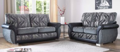 Sofia 3+2 Seater Fabric Sofa Suite Upholstered In Zest Granite