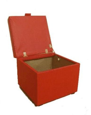 Opener Footstool / Ottoman with Storage Red Faux Leather