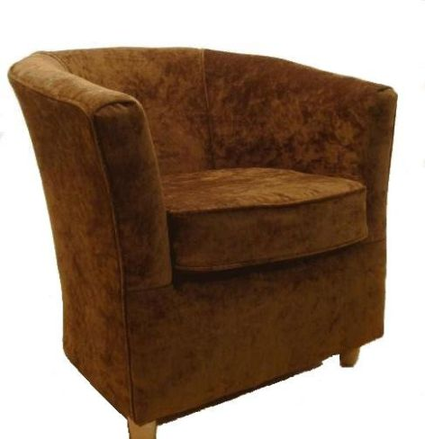 Tub Chair Chenille Fabric Bucket Tub Chair Chestnut Brown