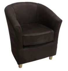 Tub Chair Bucket Suede Santos Chocolate Brown