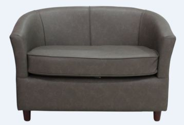 Tub 2 Seater Bucket Sofa Infinity Espresso Brown Faux Leather