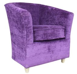 Tub Chair Sofa Chenille Fabric Bucket Chair Velluto Amethyst Purple