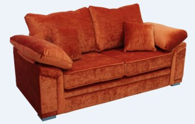 Victoria 3 Seater Sofa Settee Pastiche Burnt Orange Velvet