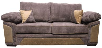 Victoria 3 Seater Sofa Settee Jumbo Cord Chocolate Fabric Suite