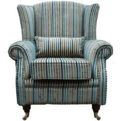 Wing Chair Fireside High Back Armchair Aqua Stripe