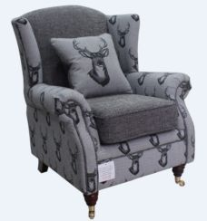 Wing Chair Fireside High Back Armchair Antler Stag Charcoal Grey