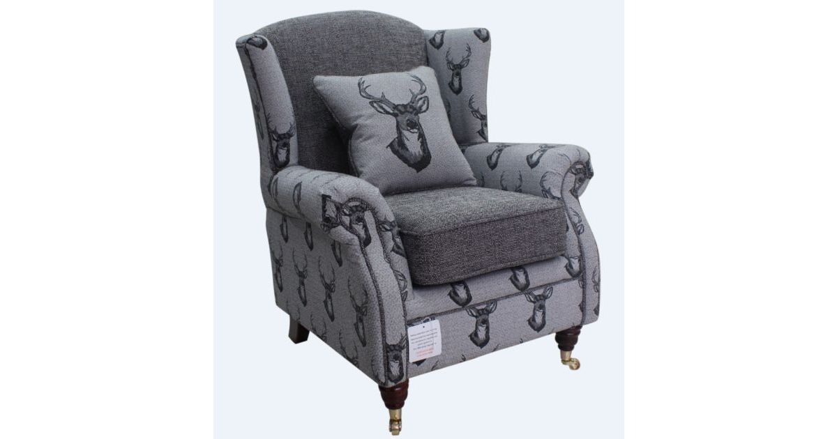 Wing Chair Fireside High Back Armchair Antler Stag