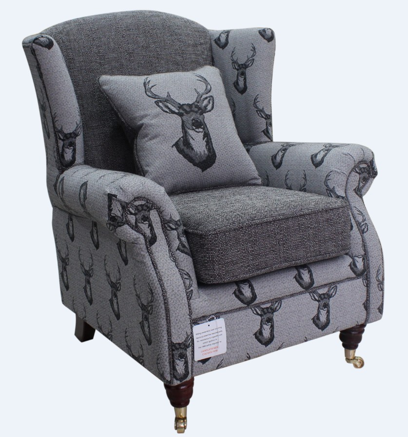 Wing Chair Antler Stag Charcoal Grey Fabric