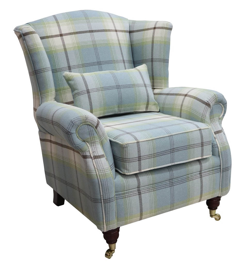 Balmoral Duck Egg Blue Check High Back Wing Chair Armchairs