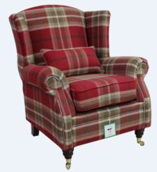 Wing Chair Fireside High Back Armchair Balmoral Red Check Fabric P&S