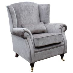 Wing Chair Fireside High Back Armchair Perla Illusions Grey Velvet Fabric