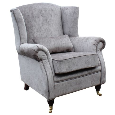Wing Chair Fireside High Back Armchair Belvedere Pewter Grey Fabric