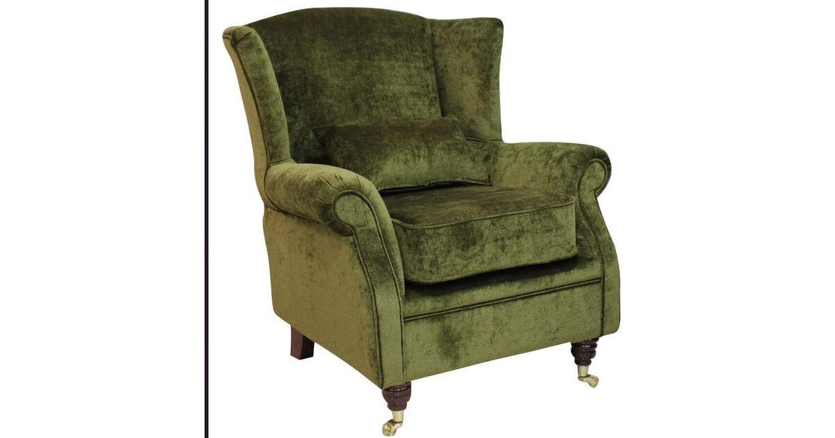 Wing Chair Fireside High Back Armchair Velluto Moss Green