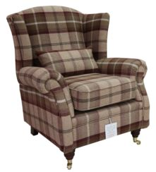 Wing Chair Fireside High Back Armchair Balmoral Mulberry Check Fabric P&S