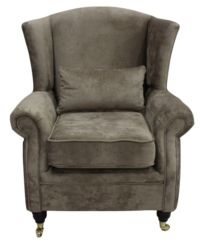 Wing Chair Fireside High Back Armchair Opulence Truffle Fabric