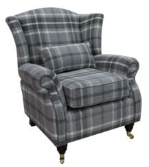 Wing Chair Fireside High Back Armchair Balmoral Dove Grey Check Fabric P&S