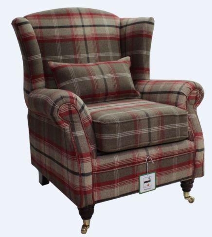 Wing Chair Fireside High Back Armchair Balmoral Rosso Check Fabric P&S