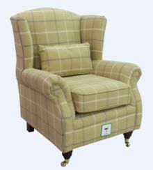 Wing Chair Fireside High Back Armchair Piazza Square Green Fabric