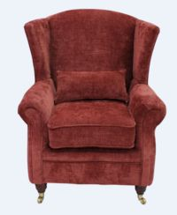 Wing Chair Fireside High Back Armchair Velluto Terracotta Fabric