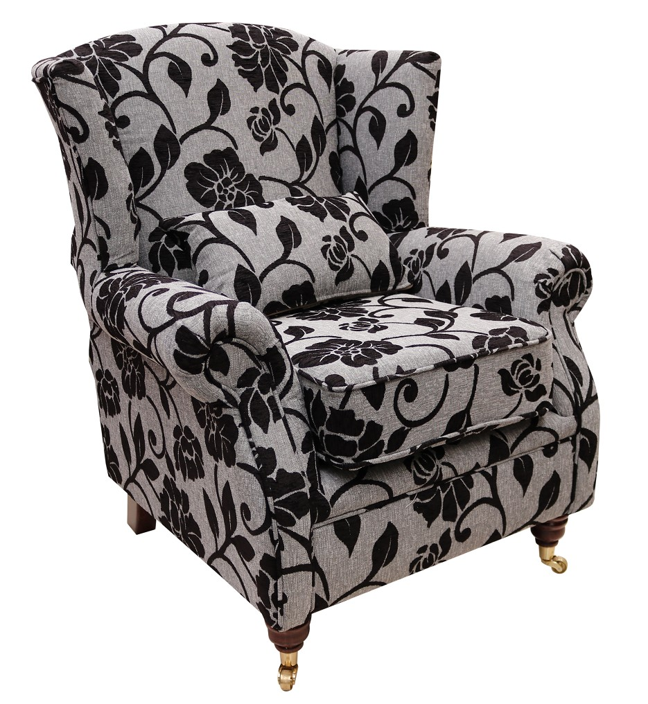 Wing chair fireside high back wing chair meghan black flower